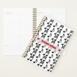 "Custom Name   Grid of Musical Notes Planner<br><div class=""desc"">This planner design features a grid of music notes. The front also features a personalized name between two heart shapes in red-colored text,  within a hazy light gray colored area. A planner like this might make a great personalized gift for a student or a busy professional. [~Z0000214]</div>"