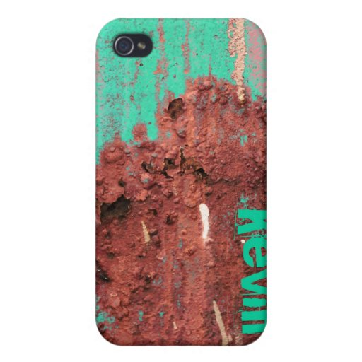 Custom Name Grunge Rust  Cover For iPhone 4