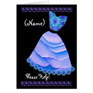 CUSTOM NAME Guest Book Attendant Invite BLUE Gown Greeting Card