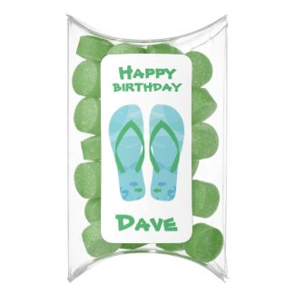 Custom Name Happy Birthday Beach Sandals Chewing Gum Favors