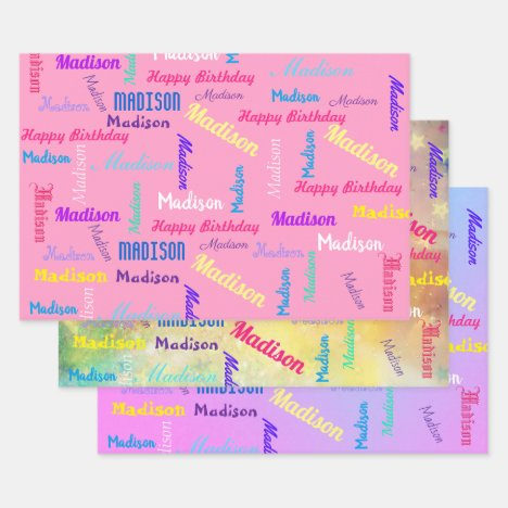Custom NAME Happy Birthday Girl's Gift Wrapping Paper Sheets