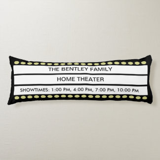 Custom Name Home Movie Theater Marquee Personal Body Pillow