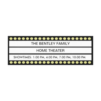 Custom Name Home Movie Theater Marquee Personal Canvas Print