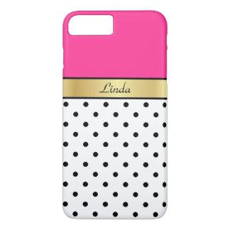 Custom Name Hot Pink Fuchsia White Black PolkaDots iPhone 7 Plus Case