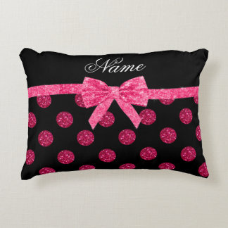 Custom name hot pink glitter polka dots bow accent pillow