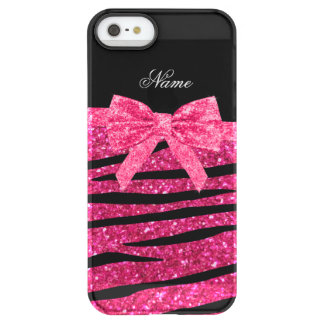 Custom name hot pink glitter zebra stripes bow uncommon permafrost® deflector iPhone 5 case