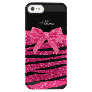 Custom name hot pink glitter zebra stripes bow uncommon clearly™ deflector iPhone 5 case
