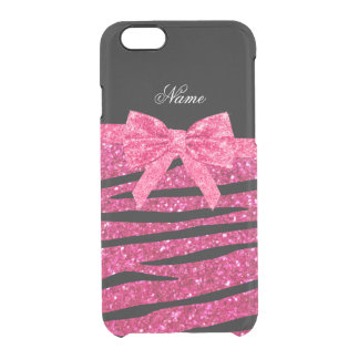 Custom name hot pink glitter zebra stripes bow uncommon clearly™ deflector iPhone 6 case
