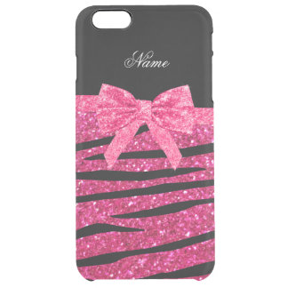 Custom name hot pink glitter zebra stripes bow uncommon clearly™ deflector iPhone 6 plus case