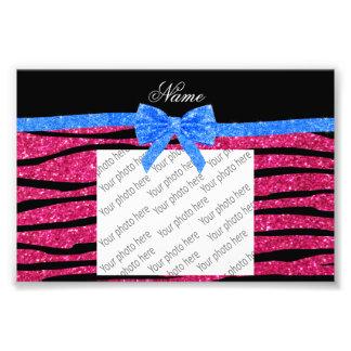 Custom name hot pink glitter zebra stripes bow photo print