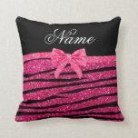 Custom name hot pink glitter zebra stripes bow throw pillows