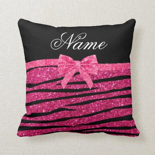 Hot Pink And Zebra Throw Pillows : Custom name hot pink glitter zebra stripes bow throw pillows Zazzle