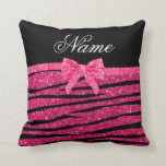 Custom name hot pink glitter zebra stripes bow throw pillow