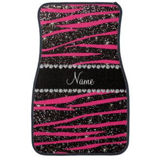 Custom name hot pink zebra stripes black glitter car floor mat