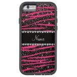 Custom name hot pink zebra stripes black glitter iPhone 6 case