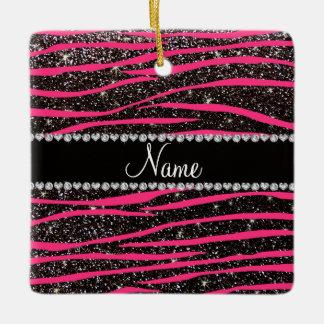Custom name hot pink zebra stripes black glitter ceramic ornament