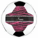 Custom name hot pink zebra stripes black glitter soccer ball