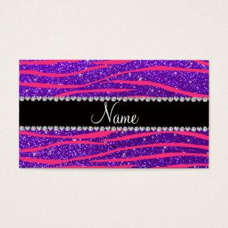Custom name hot pink zebra stripes purple glitter business card