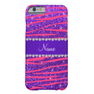 Custom name hot pink zebra stripes purple glitter barely there iPhone 6 case