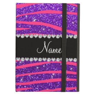 Custom name hot pink zebra stripes purple glitter iPad air cases