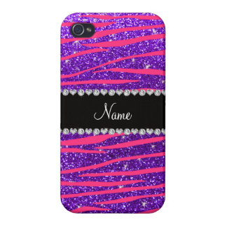 Custom name hot pink zebra stripes purple glitter case for iPhone 4