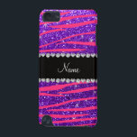 "Custom name hot pink zebra stripes purple glitter iPod touch 5G cover<br><div class=""desc"">Modern, chic and trendy neon hot pink zebra stripes pattern (animal print) with indigo purple glitter (not real glitter) with a black diamonds ribbon stripe (not real diamonds) with hearts and dots personalized with your name gifts or monogram gifts or your initials or you can add your own personal text....</div>"