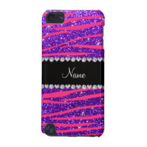 Custom name hot pink zebra stripes purple glitter iPod touch 5G cover