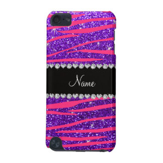 Custom name hot pink zebra stripes purple glitter iPod touch 5G cover