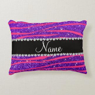 Custom name hot pink zebra stripes purple glitter accent pillow