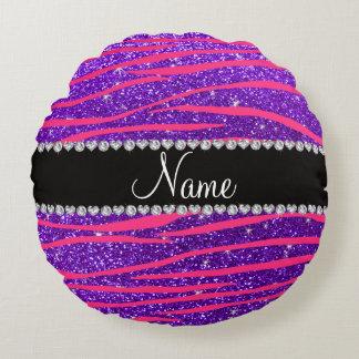 Custom name hot pink zebra stripes purple glitter round pillow