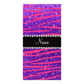 Custom name hot pink zebra stripes purple glitter photo card template