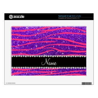 Custom name hot pink zebra stripes purple glitter netbook decal