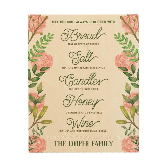 Custom Name Housewarming Bread Salt Wine Quote Wood Wall ...