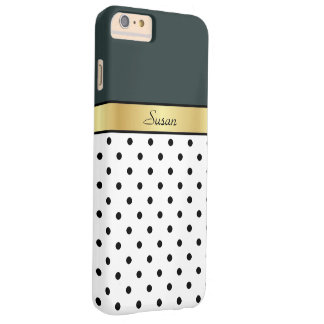 Custom Name Hunter Green, White Black Polka Dots Barely There iPhone 6 Plus Case