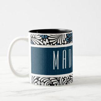 Custom Name in Blue and White Retro Pattern Two-Tone Coffee Mug