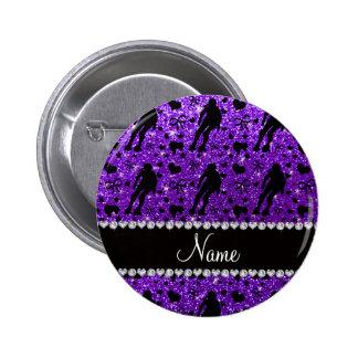 Custom name indigo glitter purple roller derby pinback button
