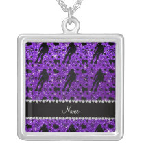 Custom name indigo glitter purple roller derby silver plated necklace