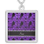 Custom name indigo glitter purple roller derby square pendant necklace