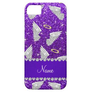 Custom name indigo purple glitter angel wings iPhone 5 case