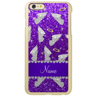 Custom name indigo purple glitter angel wings incipio feather® shine iPhone 6 plus case