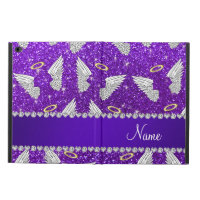 Custom name indigo purple glitter angel wings