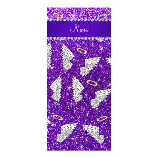 Custom name indigo purple glitter angel wings rack card