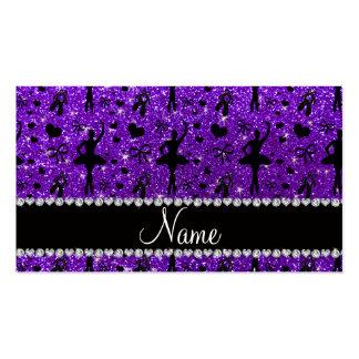 Custom name indigo purple glitter ballerinas business cards