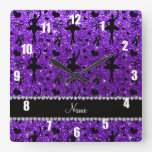 Custom name indigo purple glitter ballerinas wallclocks