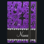 """Custom name indigo purple glitter ballerinas iPad air cover<br><div class=""""desc"""">Pretty ballet gift ideas. Cute and trendy Custom name dancing indigo purple glitter (FAUX NOT REAL GLITTERS) ballet shoes with hearts, ballerina silhouettes, ribbons and bows pattern background and beautiful black diamond (faux not real diamonds) hearts and dots stripe personalized with just add your name gifts or monogram gifts or...</div>"""