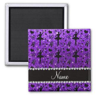 Custom name indigo purple glitter ballerinas magnets