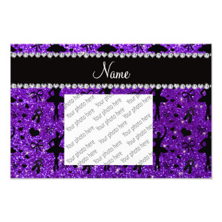 Custom name indigo purple glitter ballerinas photo print