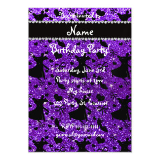 Custom name indigo purple glitter ballroom dancing magnetic invitations