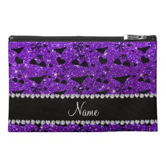 Custom name indigo purple glitter bikini bows travel accessories bag