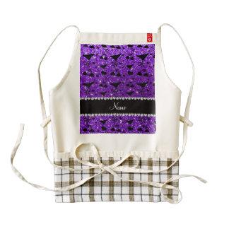 Custom name indigo purple glitter bikini bows zazzle HEART apron
